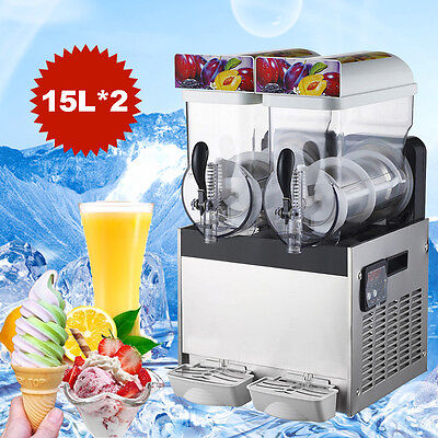 Twin Containe Tank Frozen Drink Slush Make Machine Smoothie Maker Ice 110V 600W