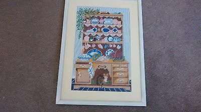 Large Framed  Completed  Cross Stitch Tapestry Picture Cat & Dresser