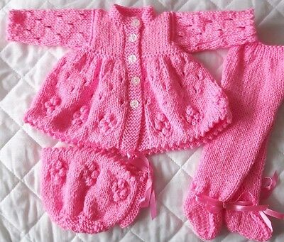 """Dolls Clothes New Hand Knitted 16"""" Bright Pink,Matinee Coat,Hat & Leggings"""