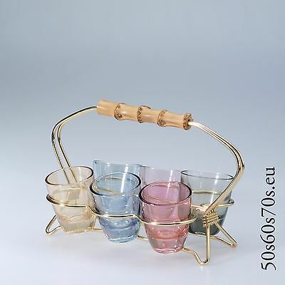 6 Schnaps Glasses in Holder with Bamboo Handle L=18,4 cm 50s #566