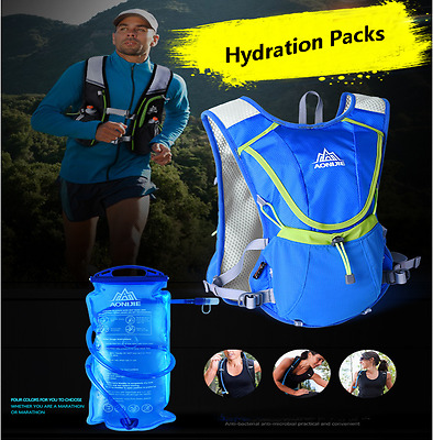 New Running Cycling Hydration Backpack Vest Pack Bladder Bag for Camping Hiking
