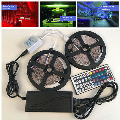 5/10M RGB 5050 LED Strip 600 SMD lights with 44 Key Remote Controller+12V Power