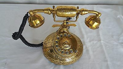 Beautiful Vintage Antique Nautical Solid Brass Rotary Dial Working Telephone