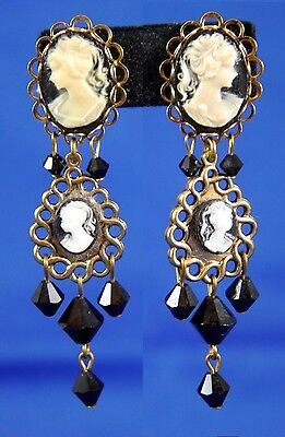 "Victorian Two Cameos on Gold Tone Dangle Post Earrings w Black Beads. 2.25"" Drop"