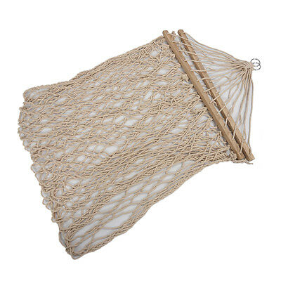 White Cotton Rope Swing Hammock Hanging on the Porch or on a Beach E2V2