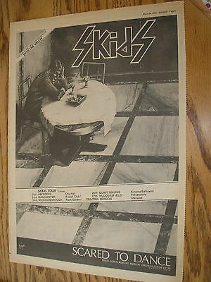 the skids scared to dance, 1979 tour advert, poster size press advert