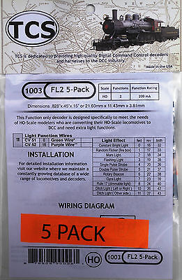 DCC decoder TCS FL2, Function Only,2 lighting functions - 5 Pack