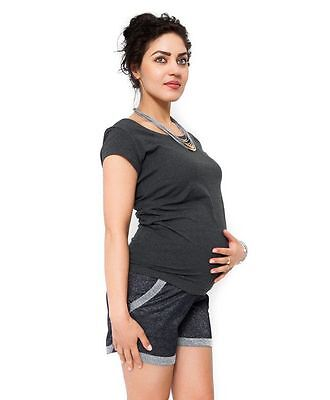 Glittery Holiday Grey Maternity Shorts  Stretchy Belly Belt With Pockets Summer