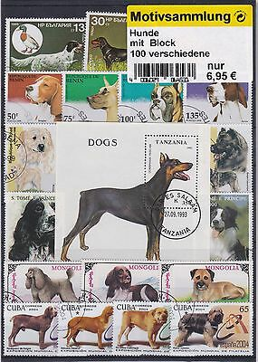 Chiens 100 Timbres Differents