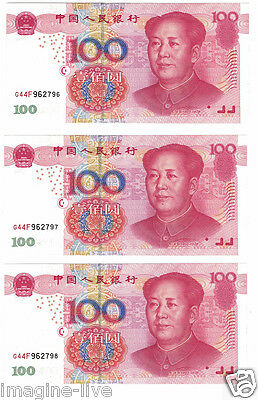 * China Notes 5 x 100 Yuan Consecutive 4 x 1 Cents Consecutive Uncirculated! *