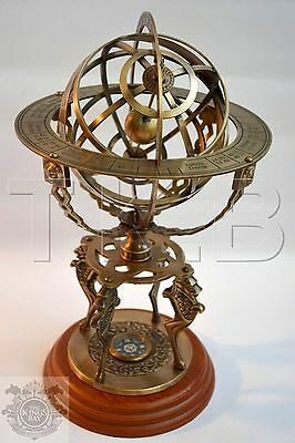 "Brass Armillary 18"" Large Engraved Nautical Sphere Globes -World sundail compass"