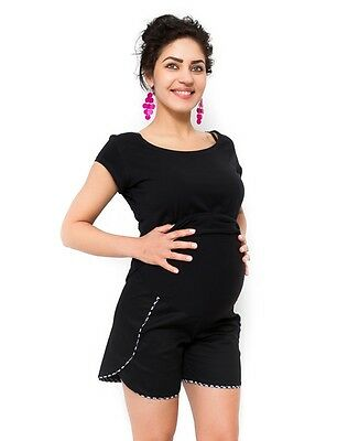Black Holiday Loose Fitmaternity Shorts  Stretchy Belly Belt With Pockets Summer