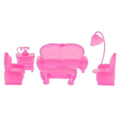 6Pcs Sofa Chair Couch Table Lamp Set Toys for Dolls House Furnitures