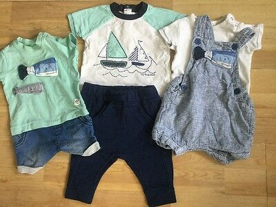 Next 0-3 Months Nautical Summer Bundle, Dungaree Shorts, Rompers, Tops