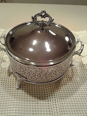Vintage Fire King Silver/Glass Round Buffet Stand Chafing Dish Anchor Hocking