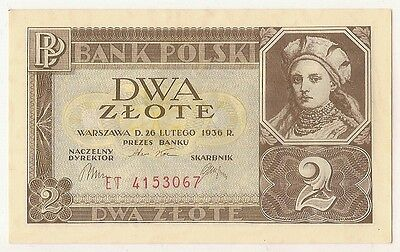 1936 POLAND  2 Zlote, P-076a  Uncirculated UNC / LOOK SCANS