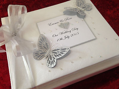 Personalised Wedding Butterfly Photo Album Silver 25th Anniversary Gift Luxury