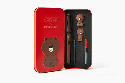 2016 Lamy Safari X Line Friends Fountain Pen Brown in Red - Limited Edition