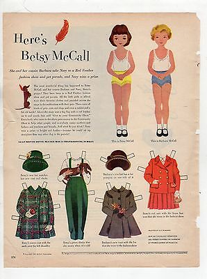 Vintage Betsy McCall Mag. Paper Dolls, Betsy McCall Introducing   Oct/1951