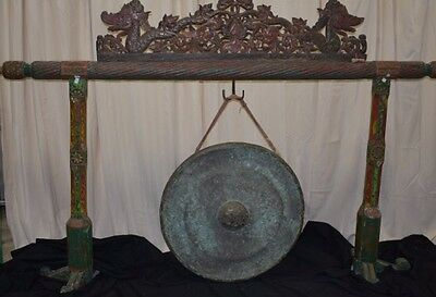 Indonesian Bali Antique Asian Hand Carved Java Teak wood Gong