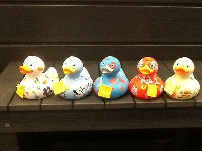 BUD Collection Rubber Ducks Fun Kids Bath Toy Time Peace Love Hippy USA Surfer