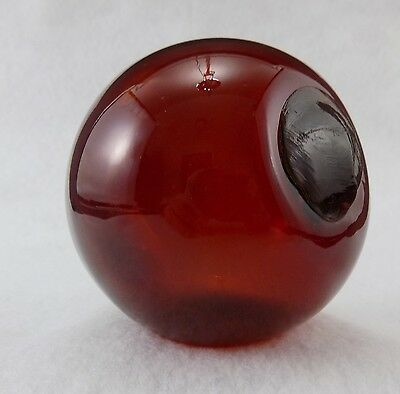 """VINTAGE 2-3/4"""" Inch Diameter Blown Glass Fishing Float Red"""