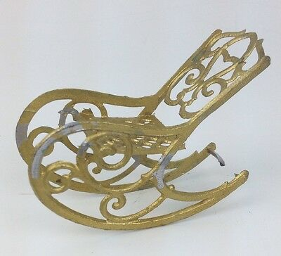 """Antique French Metal Gilt Doll House Victorian Rocking Chair 3"""" long 2"""" tall"""