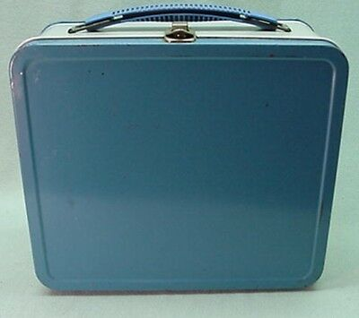 Vintage 1940's metal lunch box blue with gray band