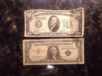 1934A $10 Federal Reserve Note - Chicago + 1957 B $1 Silver Certificate