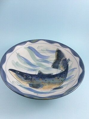 "Highland stoneware Scotland hand painted bowl fish blues 11.5"" across"