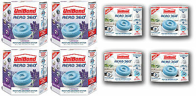 Pack of 4 UniBond Humidity Moisture Absorber Refill 8 x 450g Aero 360 Damp Stop