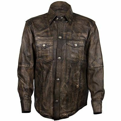 Xelement XS-942BR Men's Distressed Brown Leather Shirt with Buffalo Buttons
