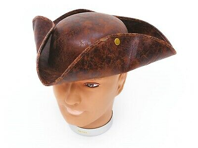 Adult Fancy Dress Mens Deluxe Ancient Look Brown Stud Tricorn Pirate Costume Hat