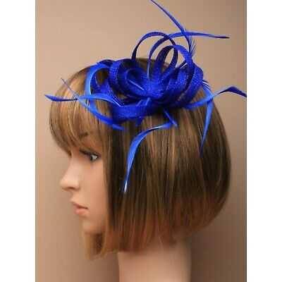 Royal blue fascinator with sinamay loops and feather tendrils (beak clip and ...