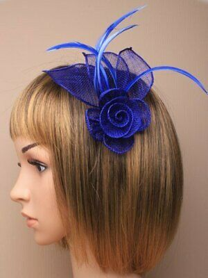 Royal blue fascinator with hessian rose, petals, and feather tendrils (beak c...