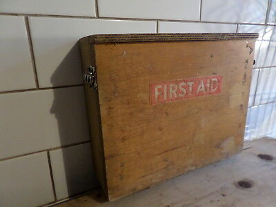 Vintage Industrial First Aid Case Wooden Freestanding Or Wall Mount