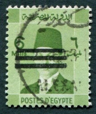 EGYPT 1953 6m yellow-green SG437 used NG King Farouk Portrait Obliterated a#W28
