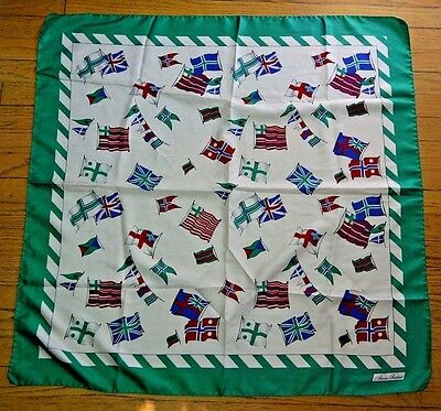 VTG Brooks Brothers 100% Silk Flags Print Scarf 34x35 Square Made in Italy UK