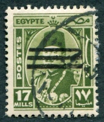 EGYPT 1953 17m olive-green SG445 used NG King Farouk Portrait Obliterated b#W28