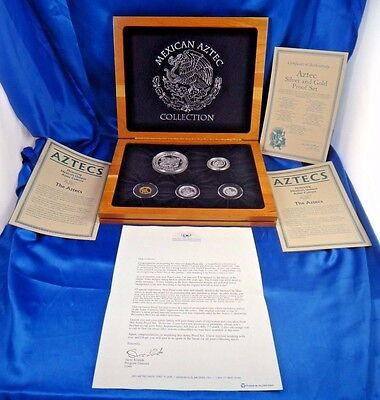 1992 Mexican Aztec Gold and Silver Proof Coin Set Collection with Box and COA