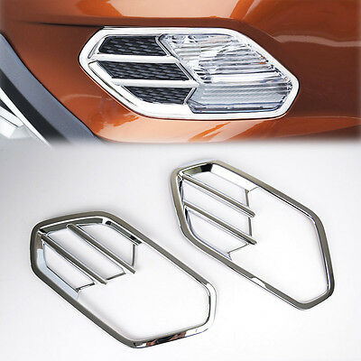 Chrome Front Fog Light Lamp Cover Trim Bezel Molding Fit For 17 Ford Escape Kuga