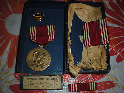 ORIGINAL WW2 GOOD CONDUCT MEDAL Set in BOX COMPLETE 1944 Dated