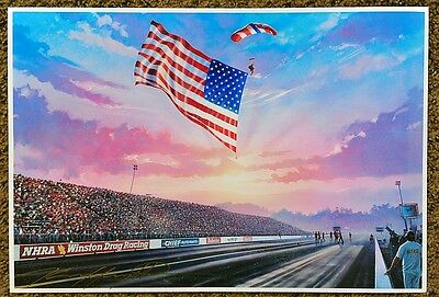 New Kenny Youngblood Signed Proud To Be An American Flag Parachutist Nhra Print