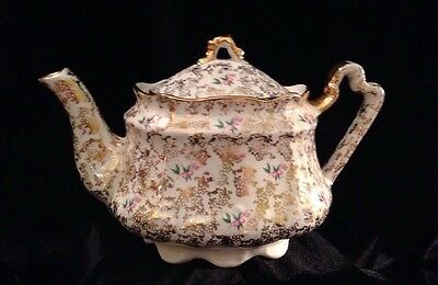 Vintage Arthur Wood Porcelain Teapot  Cherries  Pattern Gold Trim England VGC