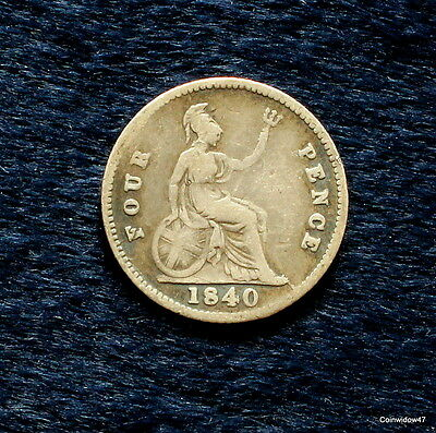 Queen Victoria Silver Groat Four Pence 1840.  High Grade