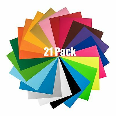 Heat Transfer Vinyl Sheets - 21 Pack