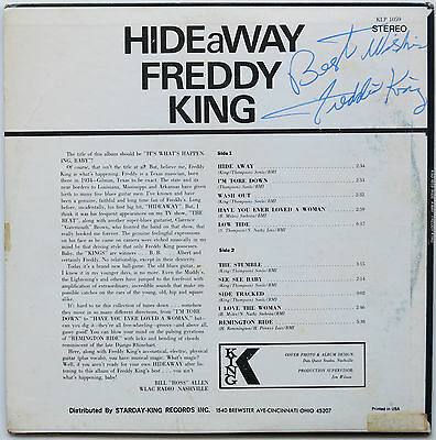 """FREDDIE KING Signed """"Hide Away"""" LP with PHOTO PROOF, Lifetime Guarantee, COA"""