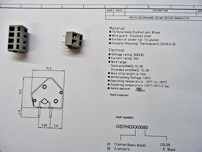 360 x OST . 2 POSITION PCB TERMINAL BLOCK GREY.5mm   INTERLOCK PUSH IN.SPRING