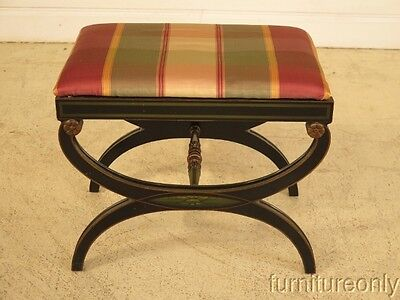 F41309: Vintage 1940 s Regency Style Paint Decorated Stool