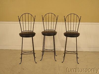 F41206: Set Of 3 CHARLESTON FORGE Iron High Seat Bar Stools